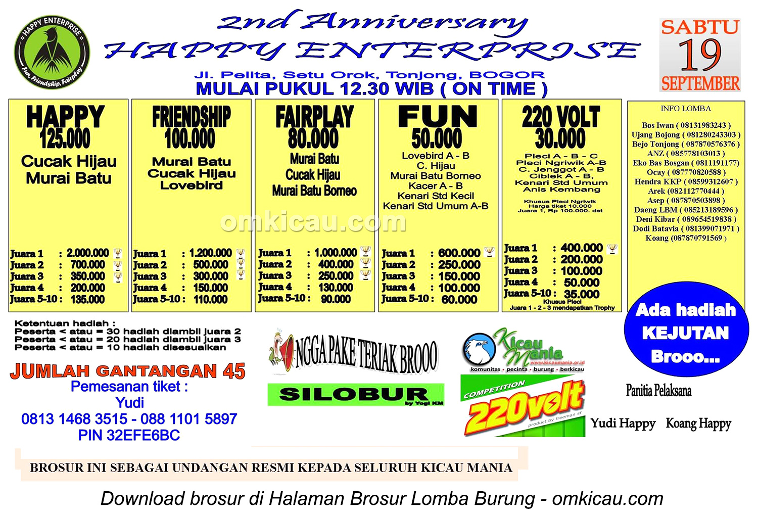 Brosur Lomba Burung Berkicau 2nd Anniversary Happy Enterprise, Bogor, 19 September 2015