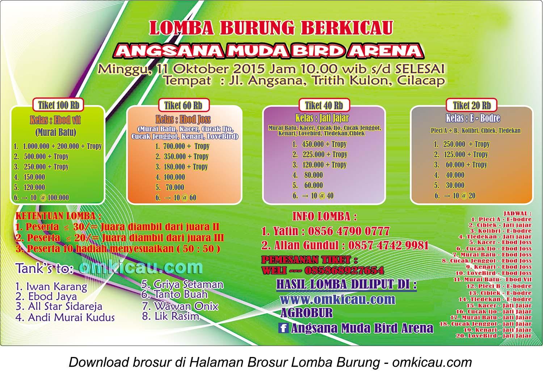 Brosur Lomba Burung Berkicau Angsana Muda Bird Arena, Cilacap, 11 Oktober 2015