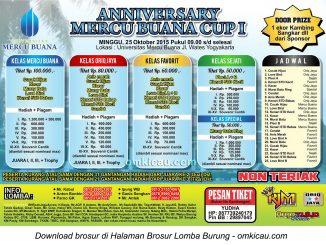 Brosur Lomba Burung Berkicau Anniversary Mercu Buana Cup I, Jogja, 25 Oktober 2015