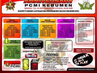 Brosur Lomba Burung Berkicau Anniversary PCMI Kebumen, 20 September 2015