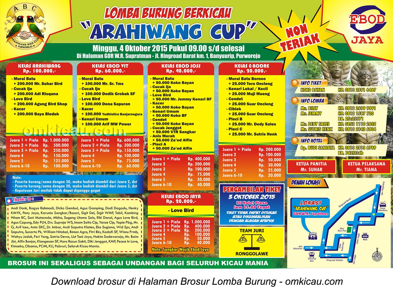 Brosur Lomba Burung Berkicau Arahiwang Cup, Purworejo, 4 Oktober 2015