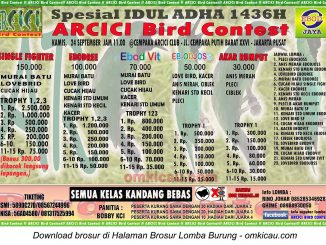 Brosur Lomba Burung Berkicau Arcici Spesial Idul Adha, Jakarta, 24 September 2015