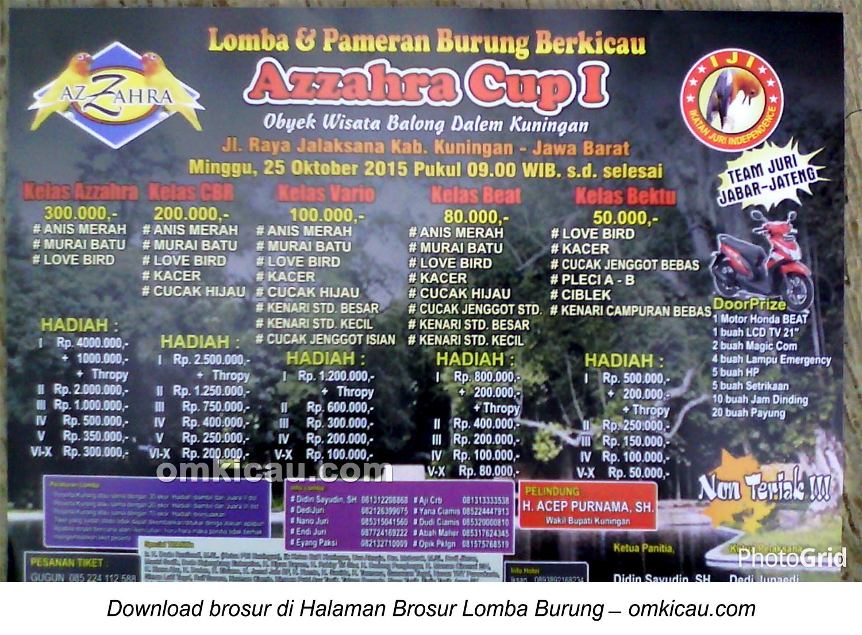 Brosur Lomba Burung Berkicau Azzahra Cup I, Kuningan, 25 Oktober 2015