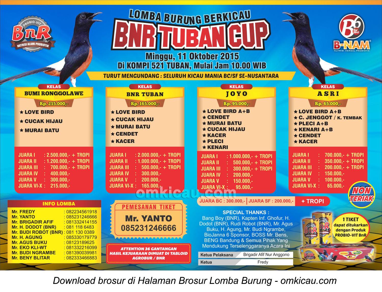 Brosur Lomba Burung Berkicau BnR Tuban Cup, 11 Oktober 2015