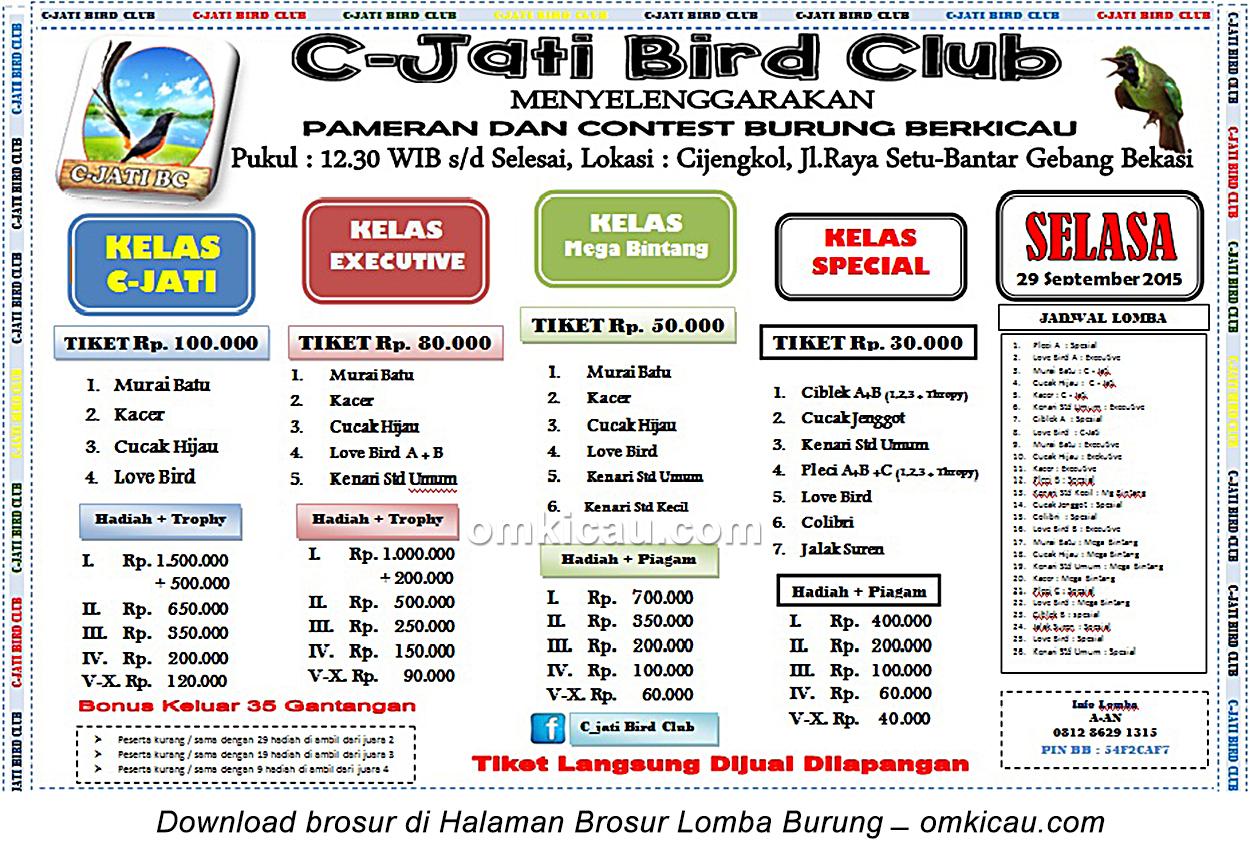 Brosur Lomba Burung Berkicau C-Jati Bird Club, Bekasi, 29 September 2015