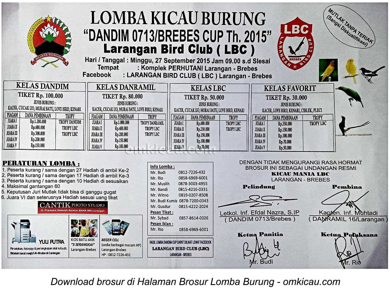 Brosur Lomba Burung Berkicau Dandim 0713 Cup, Brebes, 27 September 2015