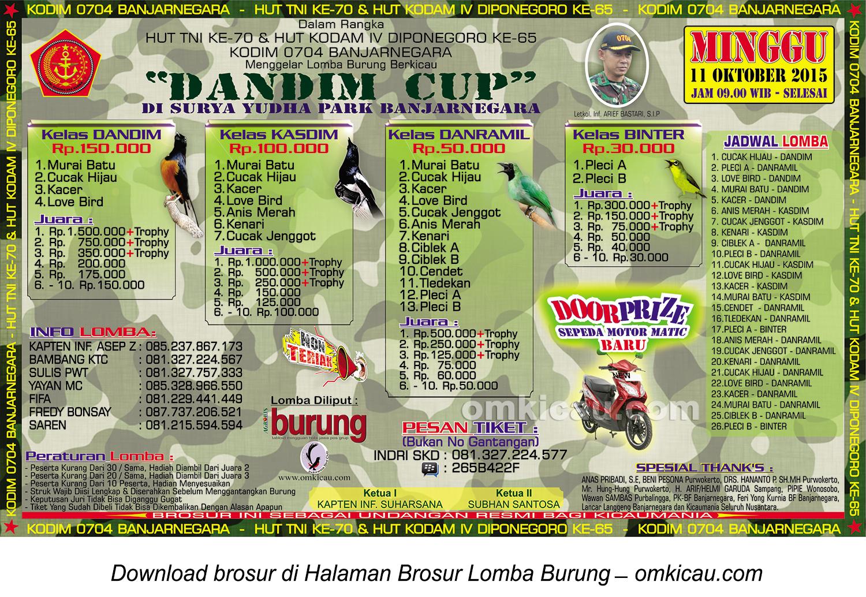 Brosur Lomba Burung Berkicau Dandim Cup, Banjarnegara, 11 Oktober 2015