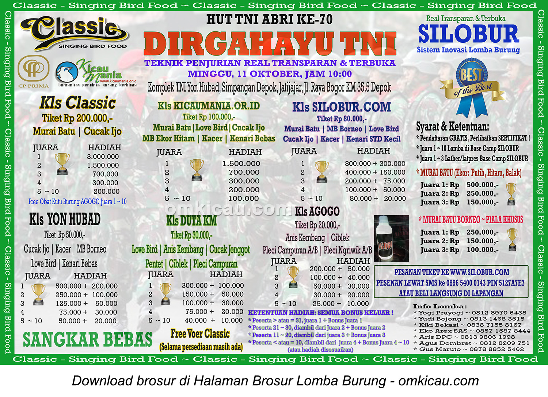 Brosur Lomba Burung Berkicau Dirgahayu TNI - Base Camp KM, Depok, 11 Oktober 2015