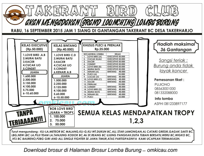 Brosur Lomba Burung Berkicau Grand Launching Takerant BC, Lamongan, 16 September 2015