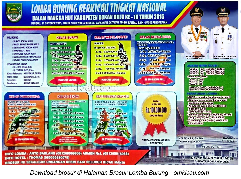 Brosur Lomba Burung Berkicau HUT Ke-16 Kabupaten Rokan Hulu, 11 Oktober 2015