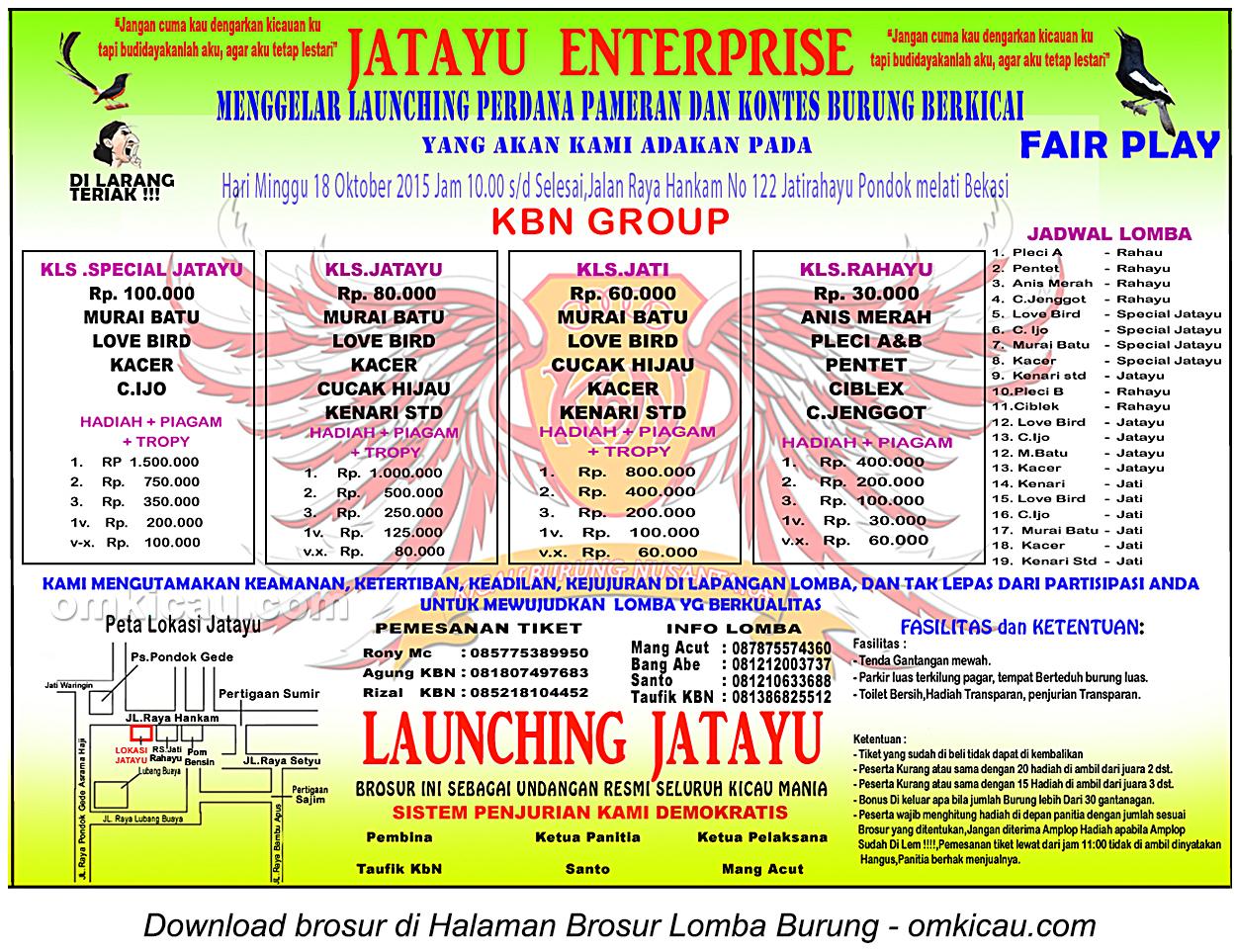 Brosur Lomba Burung Berkicau Jatayu Enterprise, Bekasi, 18 Oktober 2015