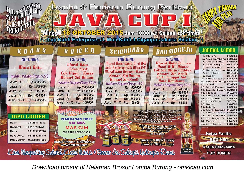 Brosur Lomba Burung Berkicau Java Cup I, Jakarta Selatan, 18 Oktober 2015