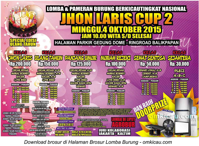 Brosur Lomba Burung Berkicau Jhon Laris Cup 2, Balikpapan, 4 Oktober 2015