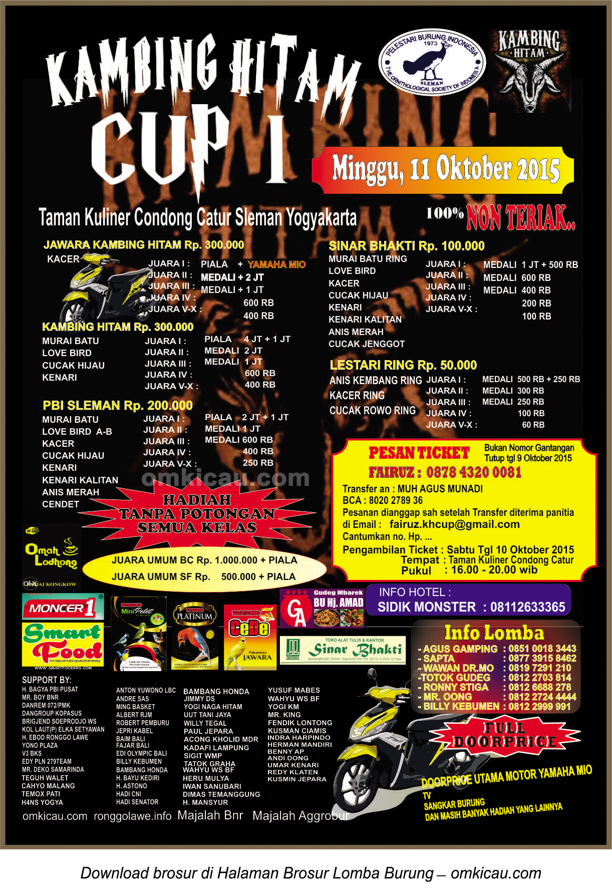 Brosur Lomba Burung Berkicau Kambing Hitam Cup, Jogja, 11 Oktober 2015