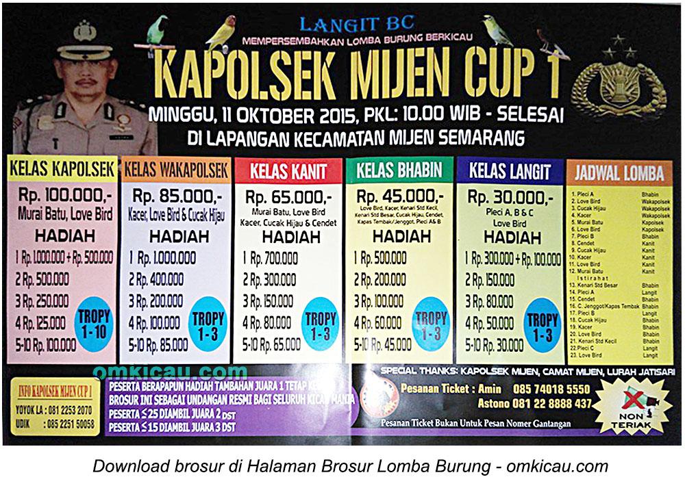 Brosur Lomba Burung Berkicau Kapolsek Mijen Cup 1, Semarang, 11 Oktober 2015