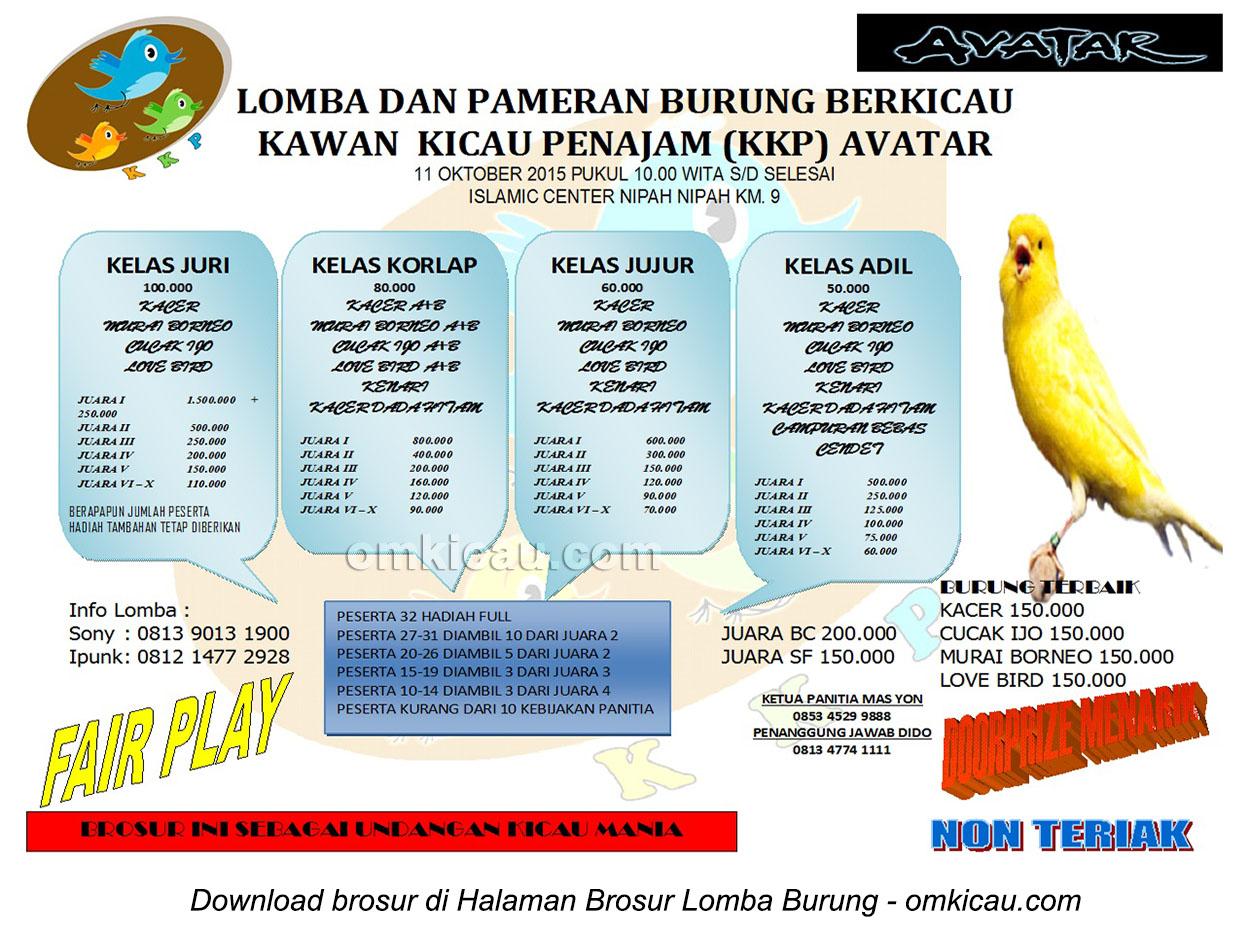 Brosur Lomba Burung Berkicau KKP Avatar, Penajam, 11 Oktober 2015