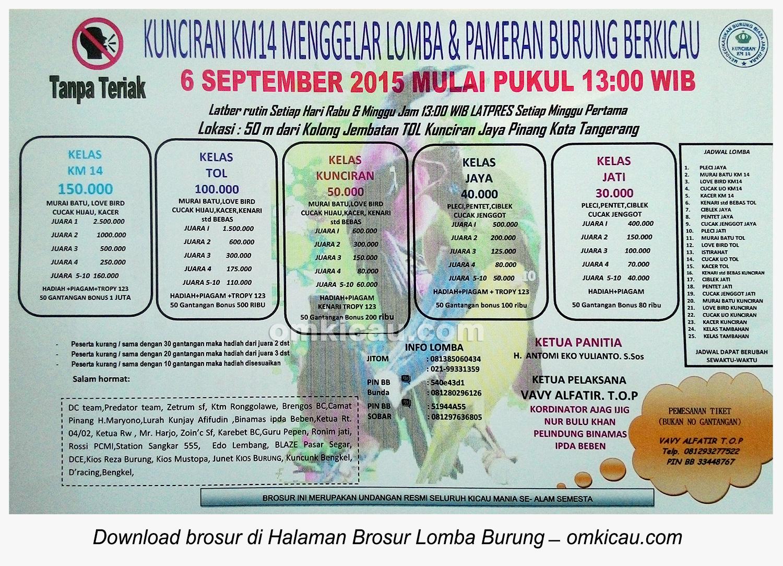 Brosur Lomba Burung Berkicau Kunciran KM 14, Tangerang, 6 September 2015
