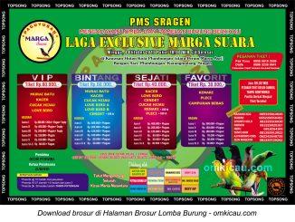 Brosur Lomba Burung Berkicau Laga Exclusive Marga Suara, Sragen, 4 Oktober 2015