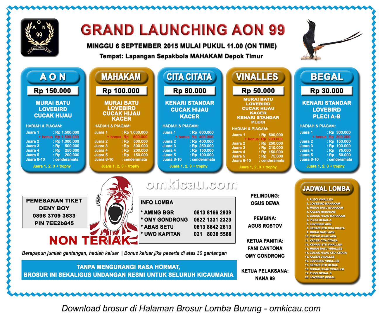 Brosur Lomba Burung Berkicau Launching AON 99, Depok Timur, 6 September 2015