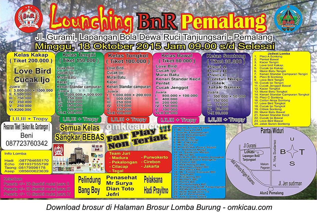 Brosur Lomba Burung Berkicau Launching BnR Pemalang, 18 Oktober 2015
