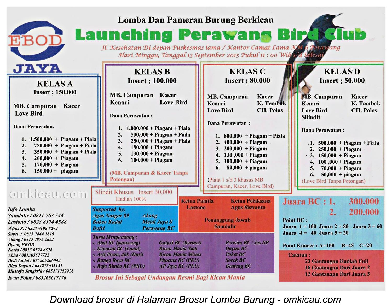Brosur Lomba Burung Berkicau Launching Perawang BC, Kab Siak, 13 September 2015