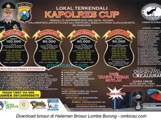 Brosur Lomba Burung Berkicau Lokal Terkendali Kapolres Cup, Bojonegoro, 1 November 2015