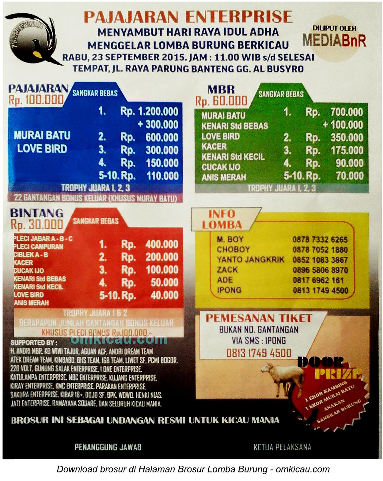 Brosur Lomba Burung Berkicau Pajajaran Enterprise Menyambut Idul Adha, Bogor, 23 September 2015