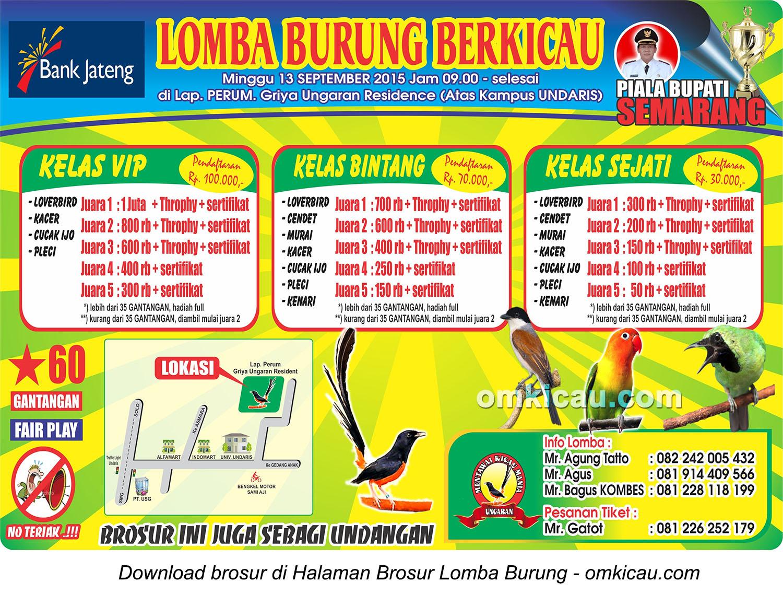 Brosur Lomba Burung Berkicau Piala Bupati Semarang, 13 September 2015