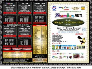 Brosur Lomba Burung Berkicau Prembun Fiesta, Depok, 11 Oktober 2015