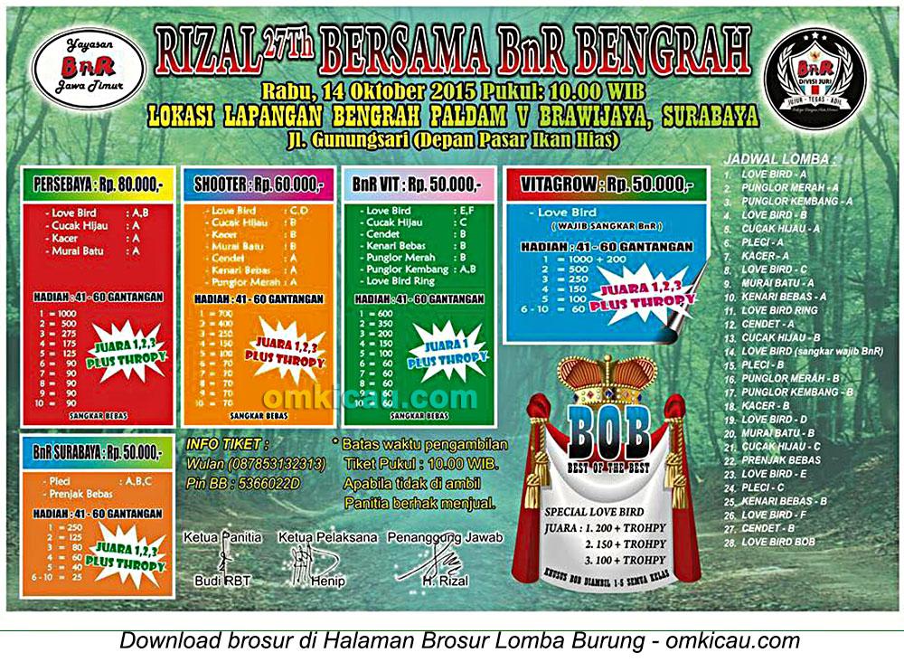 Brosur Lomba Burung Berkicau Rizal 27Th Bersama BnR Bengrah, Surabaya, 14 Oktober 2015