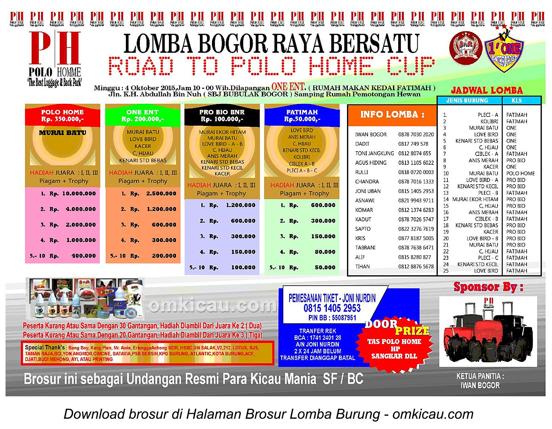 Brosur Lomba Burung Berkicau Road to Polo Home Cup, Bogor, 4 Oktober 2015
