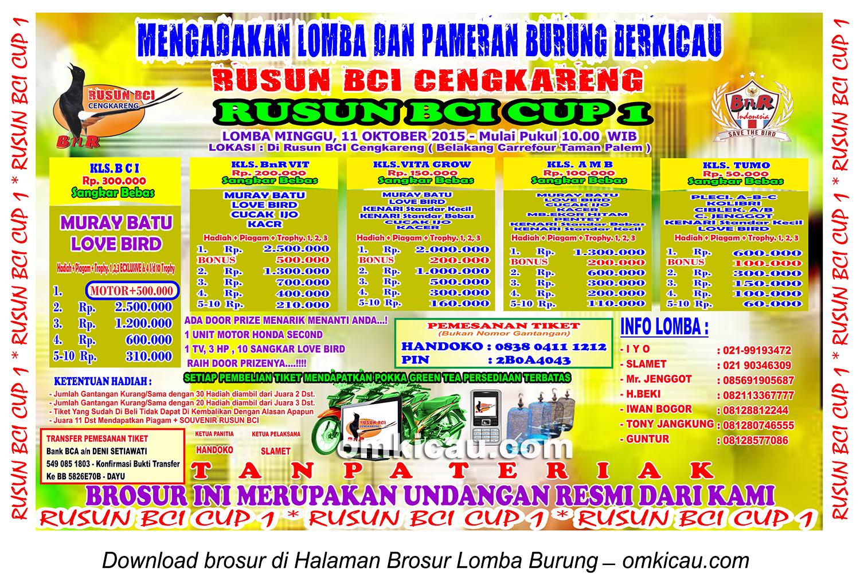 Brosur Lomba Burung Berkicau Rusun BCI Cup 1, Cengkareng, 11 Oktober 2015