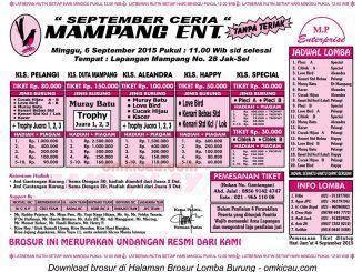 Brosur Lomba Burung Berkicau September Ceria Mampang Enterprise, Jakarta, 6 September 2015