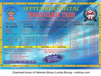 Brosur Lomba Burung Berkicau September Special Taman Radja Team, Jakarta, 19 September 2015