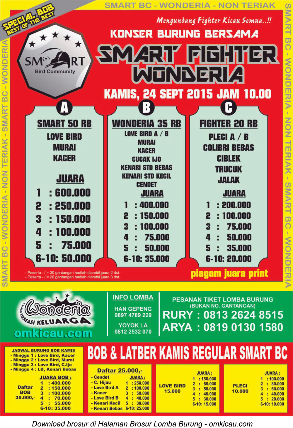 Brosur Lomba Burung Berkicau Smart Fighter Wonderia, Semarang, 24 September 2015
