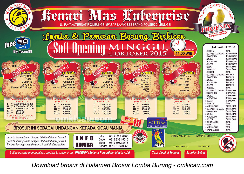 Brosur Lomba Burung Berkicau Soft Opening Kenari Mas Enterprise, Bogor, 4 Oktober 2015
