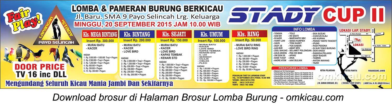 Brosur Lomba Burung Berkicau Stady Cup II, Jambi, 20 September 2015
