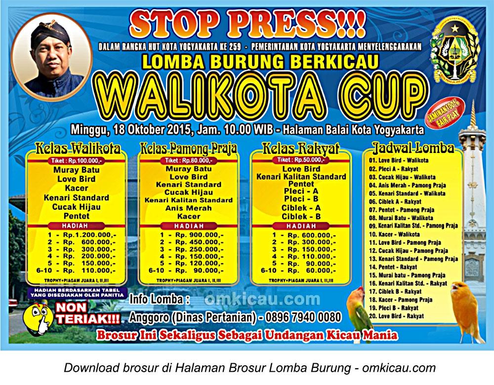 Brosur Lomba Burung Berkicau Wali Kota Cup, Jogja, 18 Oktober 2015