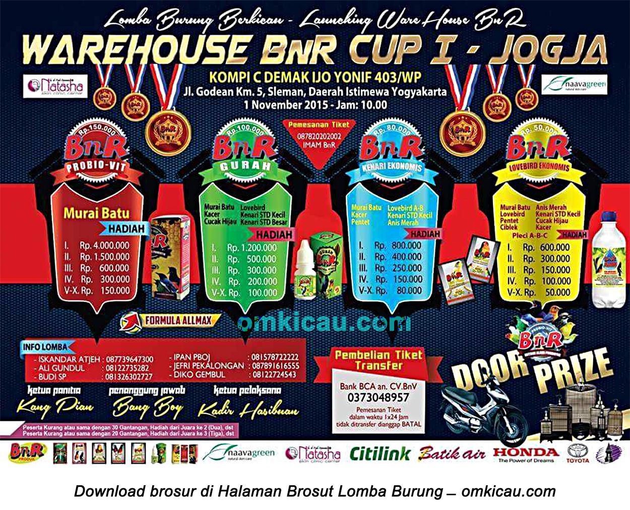Brosur Lomba Burung Berkicau Warehouse BnR Cup I, Jogja, 1 November 2015