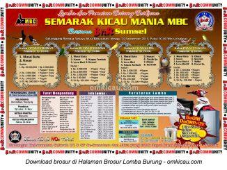 Brosur Lomba Semarak Kicau Mania MBC, Musi Banyuasin, 20 September 2015