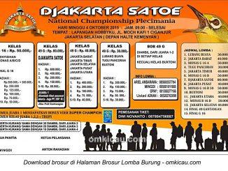 Brosur National Championship Plecimania Djakarta Satoe, Jakarta Selatan, 4 Oktober 2015