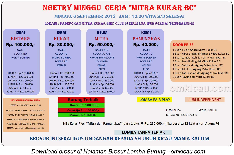 Brosur Ngetry Minggu Ceria Mitra Kukar BC, Tenggarong, 6 September 2015