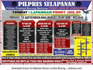 Brosur Pilpres Selapanan Penny Jaya SF Jogja, 13 September 2015