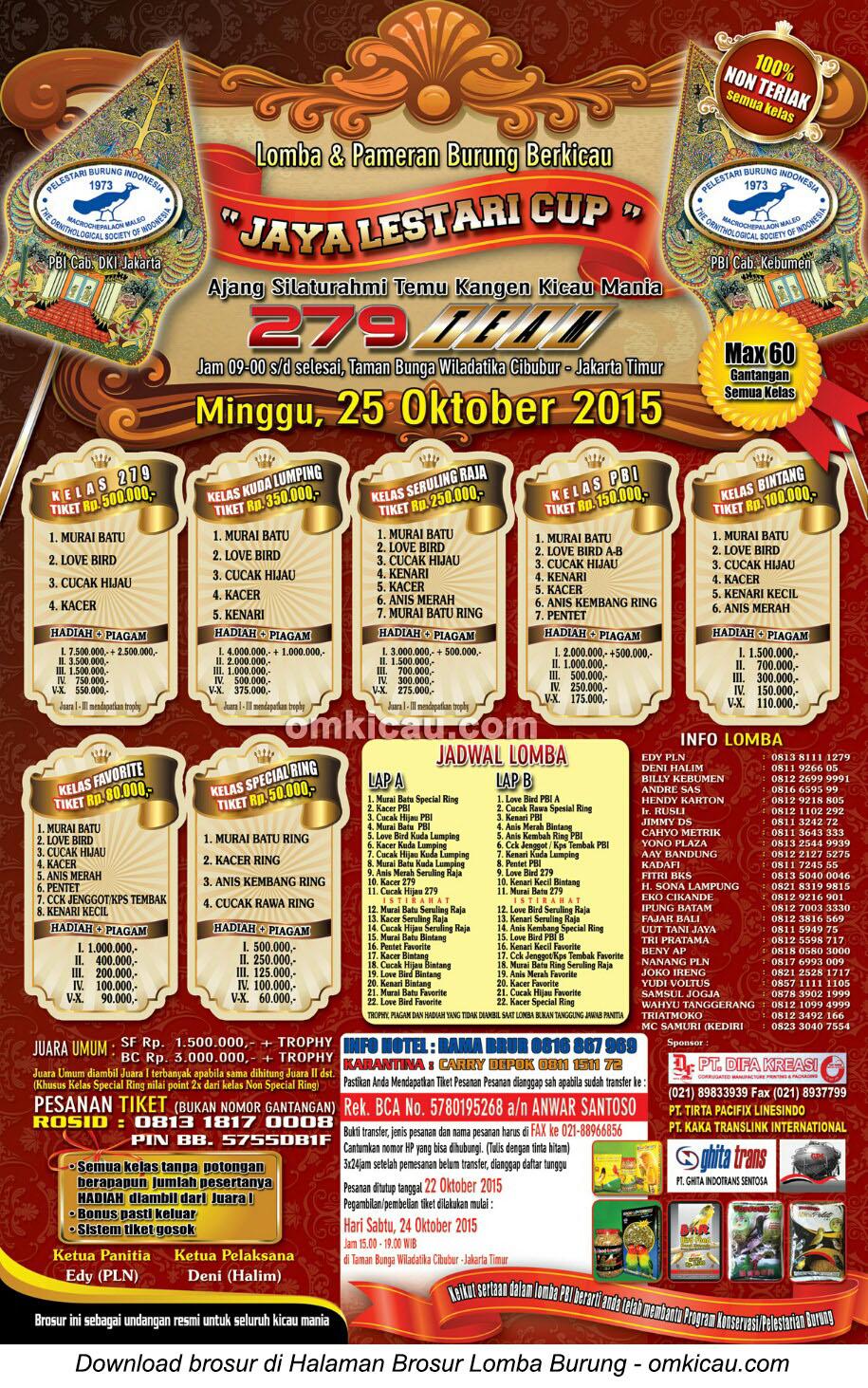 Brosur revisi Lomba Burung Berkicau Jaya Lestari Cup, Jakarta, 25 Oktober 2015