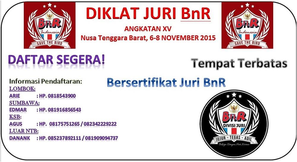 Diklat Juri BnR Angkatan XV Nusa Tenggara Barat, 6-8 November 2015