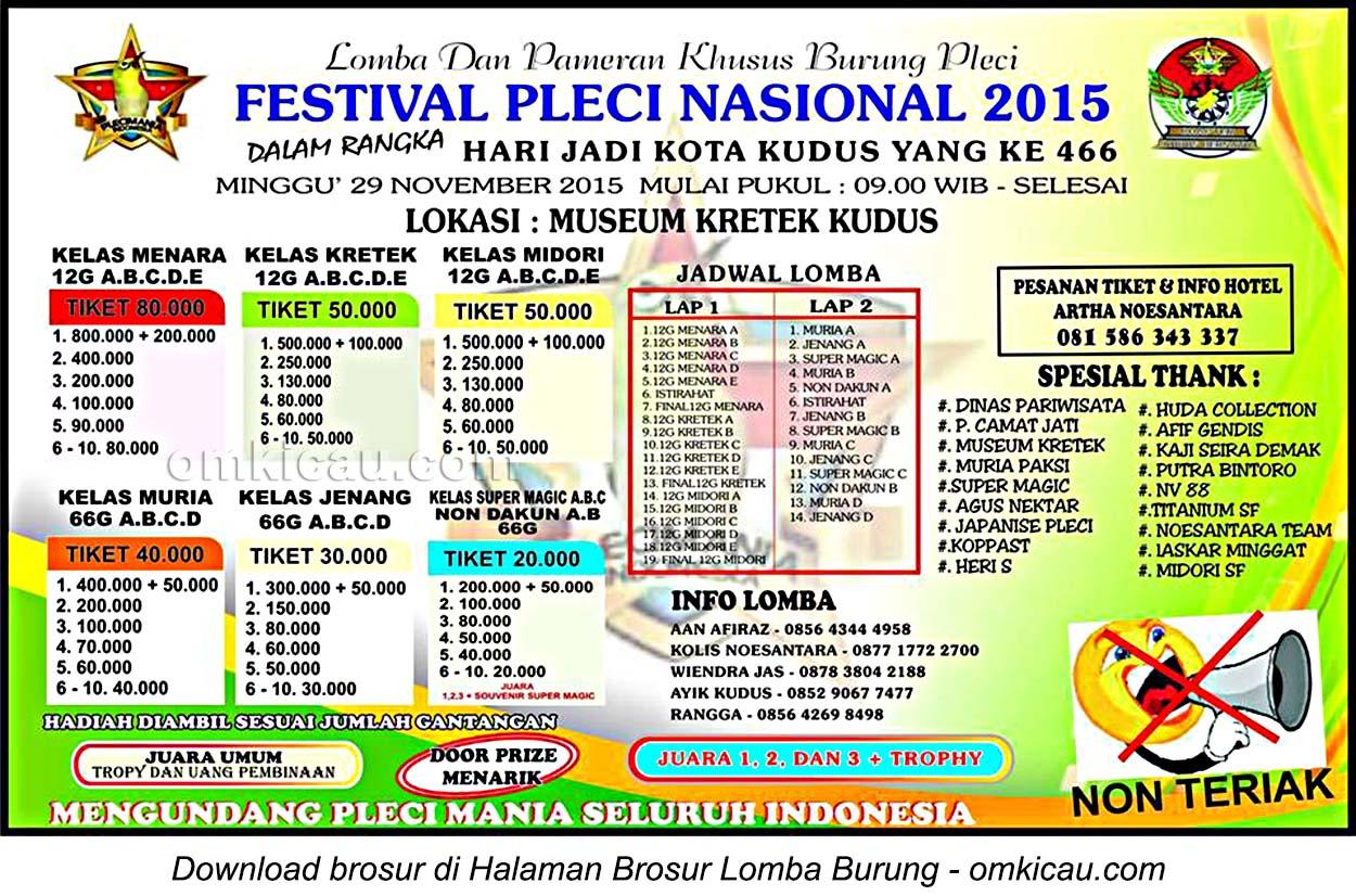 Brosur Festival Pleci Nasional 2015, Kudus, 29 November 2015