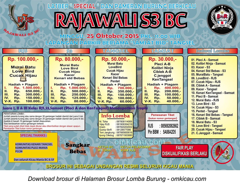 Brosur Latber Special Rajawali S3 BC, Tangerang Selatan, 25 Oktober 2015