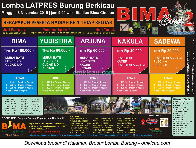 Brosur Latpres Burung Berkicau Bima Cup 2 Cirebon, 8 November 2015