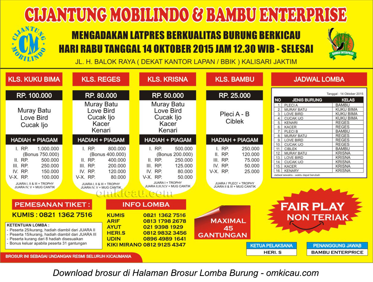 Brosur Latpres Burung Berkicau Cijantung Mobilindo - Bambu Enterprise, Jakarta Timur, 14 Oktober 2015