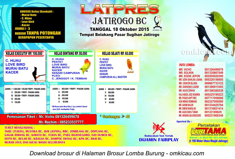 Brosur Latpres Burung Berkicau Jatirogo BC, Tuban, 18 Oktober 2015